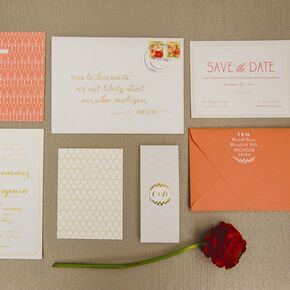 Coral And Gold Foil Invitations